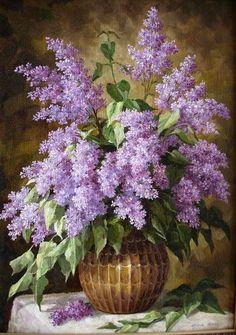 Art Floral, Lilac Painting, Pictures To Paint, Acrylic Art, Botanical Prints, Beautiful Paintings, Flower Art, Flower Arrangements, Watercolor Paintings