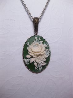 Green Olive Garden Cameo by FashionCrashJewelry
