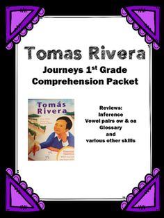 """Use this packet to review the story """"Tomas Rivera"""".  The 12 pages cover the following: 1. Title Page2. Story information such as title, author, characters, setting, and author's purpose.3. Find the page number.  Students are given a quote from the story and they must search the story and write the page it is found.4."""