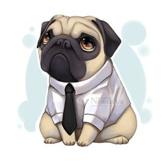 Mormon Pug original art Print by Nordeva by NordevaPrints on Etsy