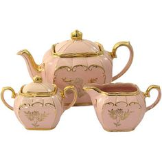 Pretty in Pink Sadler Teapot Set with Gold Roses