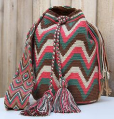 Check out our wayuu mochila bags selection for the very best in unique or custom, handmade pieces from our handbags shops. Crochet Chart, Free Crochet, Crochet Patterns, Tapestry Bag, Tapestry Crochet, Mochila Crochet, Crochet Handbags, Knitted Bags, Crochet Accessories