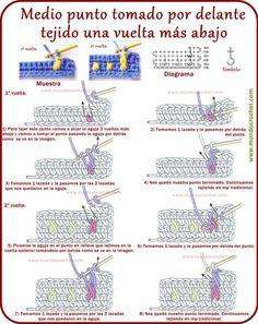 Medio-punto-tomado-por-delante-tejido-una-vuelta-mas-abajo Crochet Diagram, Crochet Motif, Diy Crochet, Crochet Flowers, Crochet Baby, Crochet Symbols, Crochet Stitches Patterns, Stitch Patterns, Crochet Basics