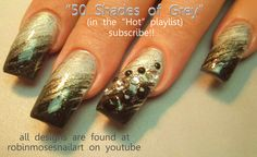 Nail-art by Robin Moses Nail-art by Robin Moses 50 shades of grey nails http://www.youtube.com/watch?v=BR1PuOx3V1A