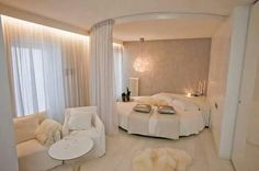 Awesome #Bedroom seperated with curtain in semi circle shape..