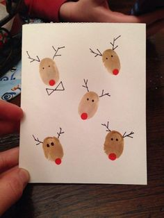 Sewing Crafts For Children DIY Christmas Cards: Reindeer Fingerprint Cards - Instead of buying those big packs of identical holiday cards, make these easy homemade cards that really say you're thinking of that special someone. Beautiful Christmas Cards, Diy Christmas Cards, Christmas Art, Handmade Christmas, Christmas Holidays, Christmas Decorations, Christmas Ornaments, Christmas Card Ideas With Kids, Xmas Ideas