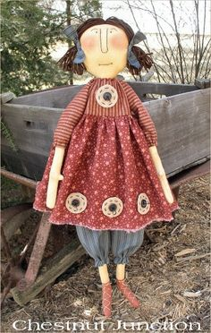 $1.99 epattern...primitive country cloth doll sewing pattern.  www.chestnutjunction.com