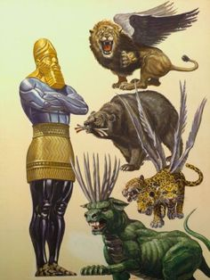 What does the beast from Revelation 13 have to do with Daniel's vision of the statue and the four beasts? Join me for part 110 of our Bible Study into the Book of Revelation. Revelation Bible Study, Beast Of Revelation, Bible Art, Bible Scriptures, Religion, Bible Pictures, Prophetic Art, Biblical Art, Bible Knowledge