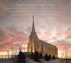 """""""Temples are places of personal revelation. When I have been weighed down by a problem or a difficulty, I have gone to the House of the Lord with a prayer in my heart for answers. The answers have come in clear and unmistakable ways.""""  —Ezra Taft Benson.  2013 Temple Calendar: Rexburg, Idaho"""