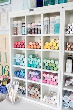 Something Turquoise Craft Room and Blog Office... with all the Martha Stewart paint you could dream of!