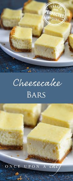 These recipes will have you making up reasons to celebrate, just so you can eat cheesecake. Enjoy these 58 easy cheesecake bar recipes! Easy Desserts, Delicious Desserts, Dessert Recipes, Bar Recipes, Recipies, Creative Desserts, Mini Desserts, Plated Desserts, Healthy Desserts