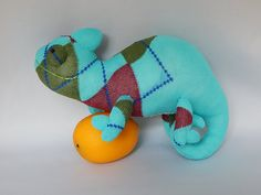 Chameleon Plush Toy, Reptile Stuffed Animal, Sock Toy, Sock Monkey Stuffed Toy by SockSockWorld on Etsy