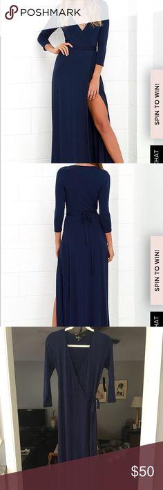 Lulu's Navy Wrap Maxi Dress Lulu's navy wrap dress, soft stretchy jersey fabric Lulu's Dresses Maxi