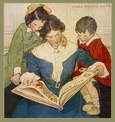 "Jessie Willcox Smith 'The New Book' 1915 from 'When Christmas Comes Around'    ""When Christmas Comes Around"" (1915) by Priscilla Underwood / illustrations by Jessie Willcox Smith  via Plum leaves flickr"