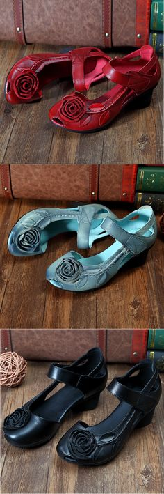 US$26.73 SOCOFY Rose Leaf Block Hook Loop Vintage Shoes