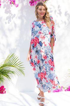 Margarita Kaftan Maui White Blue Red and Grey Cut Away Shoulder Maxi – Mombasa Rose