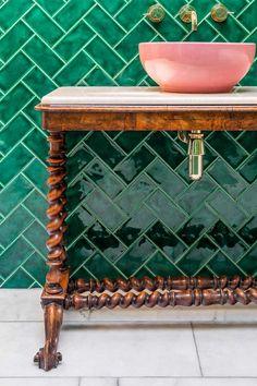 Cute Emerald Green Bathroom Tile Designs Ideas - Bathroom Best Home Design Brown Furniture, Vintage Furniture, Repurposed Furniture, Furniture Ideas, Green Subway Tile, Green Tiles, Subway Tiles, Green Marble, Wall Tiles