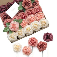 Ling's moment Artificial Flowers Burgundy Ombre Colors Foam Rose 5 Tones for DIY Wedding Bouquets Centerpieces Arrangments Decorations by Ling's moment