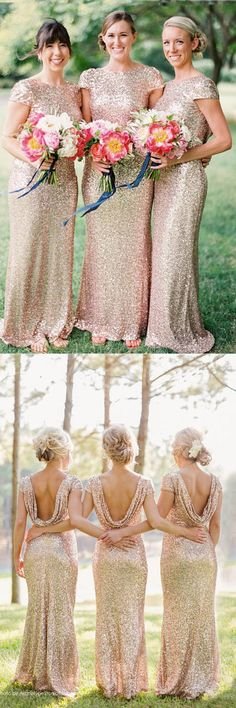 Chic Bridesmaid Dresses,Mermaid Bridesmaid Dresses,Floor Length Bridesmaid Dresses,Sequins Bridesmaid Dresses,Gold Bridesmaid Dresses,Bridesmaid Dresses With Short Sleeves