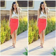 Luna Boutique Cut Out Top, Luna Boutique Asymmetrical Skirt, Zara Heels