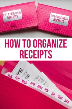 How to Organize Receipts! Great DIY for both meal planning and budget organization. Receipt Organization, Organizing Paperwork, Home Office Organization, Paper Organization, Business Organization, Organizing Your Home, Organize Receipts, Organization Skills, Organizing Tips