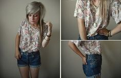 Floral, Levi's Diy High Waisted Shorts, Various Necklaces