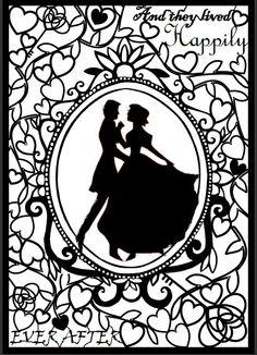 Paper Cut Art Template Wedding Fairytale Template Size A4