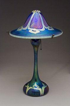 Large Blue Peacock Flared Shade Lamp