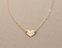 Small Heart Necklace Choker Personalized 14k par LayeredAndLong