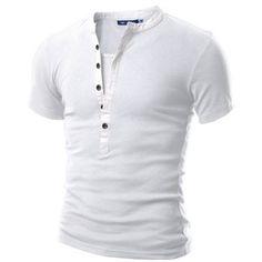 Doublju Men's Short Sleeve Henley Shirts in 2 Styles