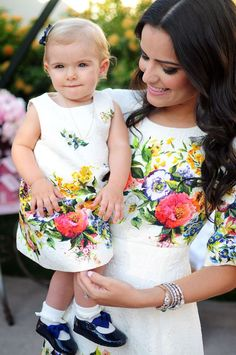 """"""" Look at Mommy's long black hair and Baby's thin blonde hair. Mommy Daughter Dresses, Mother Daughter Matching Outfits, Mother Daughter Fashion, Mom Dress, Mom Daughter, Little Girl Dresses, Baby Dress, Flower Girl Dresses, Mommy And Me Shirt"""