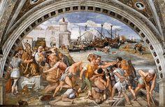 Raffaello-Battaglia di Ostia affresco (circa 670x500 cm),Stanza dell'Incendio del Borgo,Musei Vaticani