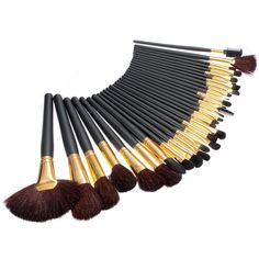 32Pcs Soft Wool Makeup Brushes Kit Super Wooden Black Beauty Facial Brush - Gchoic.com