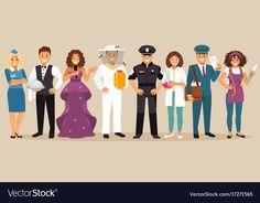 Professions vector image on VectorStock Single Image, Adobe Illustrator, Vector Free, Pdf, Illustration, People, Illustrations, People Illustration, Folk