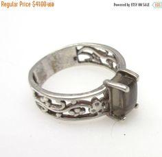 Sterling silver Orthoglaze   Transparent feldspar crystal ring size 8 - pinned by pin4etsy.com