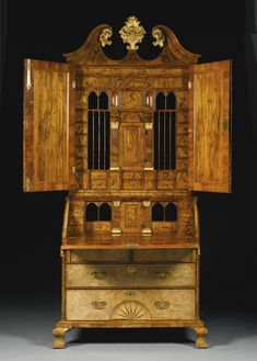 Image # 2 Interior A George II figured walnut and parcel-gilt bureau-cabinet circa 1730 SOLD. Georgian Furniture, Cabinet Furniture, Furniture Styles, Cheap Furniture, Classic Furniture, Antique Furniture, Industrial Furniture, Outdoor Furniture, Georgian Interiors