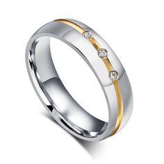Men Women Wedding Rings CZ Stone Rings women & Men Stainless Steel Finger Rings