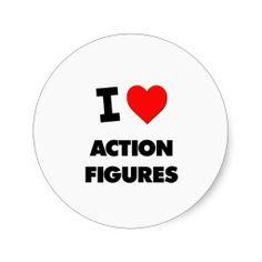I Love Action Figures Round Sticker Spiderman Stickers, Decorated Water Bottles, Round Stickers, Business Flyer, Birthday Ideas, Action Figures, Wedding Invitations, Geek, Round Labels