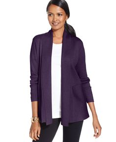 Jm Collection Petite Ribbed Flyaway Cardigan, Only at Macy's
