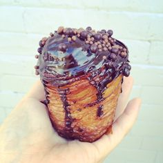 Chocolate cruffin with passionfruit cream filling | Mr. Holmes Bakehouse