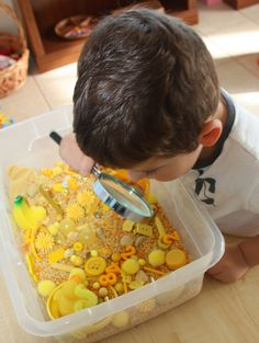 Love this idea to teach yellow or any color for that matter: Sensory Tub - Yellow