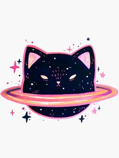 Gatos (cat planet in stars) Illustration Mignonne, Cute Illustration, Space Cat, Deco Gamer, Art Mignon, Posca Art, Cute Stickers, Oeuvre D'art, Cat Art