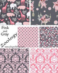 Dandy Damask Blossom Pink Gray Fabric Michael Miller. $10.00, via Etsy.