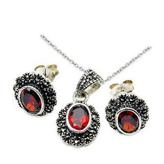Diamonds and Gemstones 164326: Garnet, Marcasite And .925 Silver Necklace Earrings Pendant Jewelry Set Aa665 -> BUY IT NOW ONLY: $69.95 on eBay!