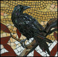 Raven on a Branch mosaic by Carl and Sandra Bryant