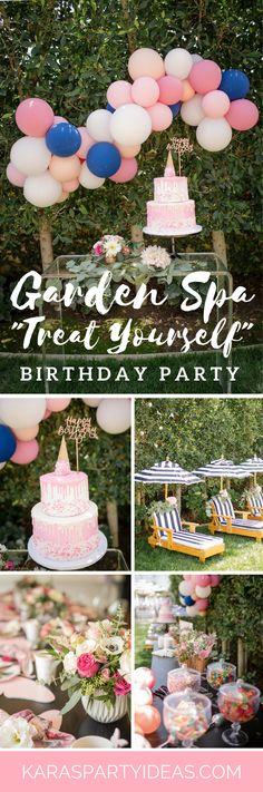 Garden Spa Treat Yourself Birthday Party via Kara's Party Ideas - KarasPartyIdeas.com #kidspartyideas #gardenspaparty #gardenparty #spaparty