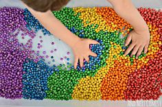 And Next Comes L: Rainbow Chickpeas {How to Dye Dried Chickpeas for Sensory Play}