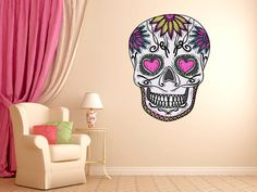 "Mexican Sugar Skull Daisy Wall Decal dia de los muertos Art Vinyl Wall Decal Graphics 28""x21"" Home Decor 04"