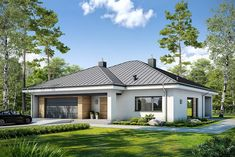 Projekt+Dostępny+D45+Wariant+II Home Fashion, Bungalow, Gazebo, Garage Doors, Outdoor Structures, Mansions, House Styles, Outdoor Decor, Home Decor