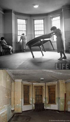 Worcester State Hospital then (1949) and now